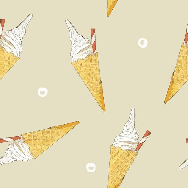 Cône de crème glacée vecteur transparente. Vecteur Premium