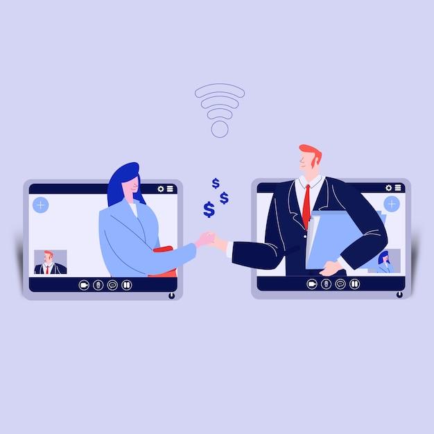 Conférence d'affaires par vidéoconférence Vecteur Premium