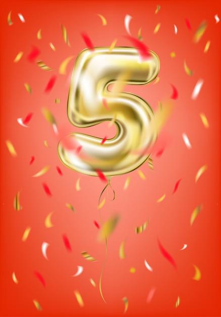 Confetti de ballon à cinq chiffres et feuille en or festif Vecteur Premium