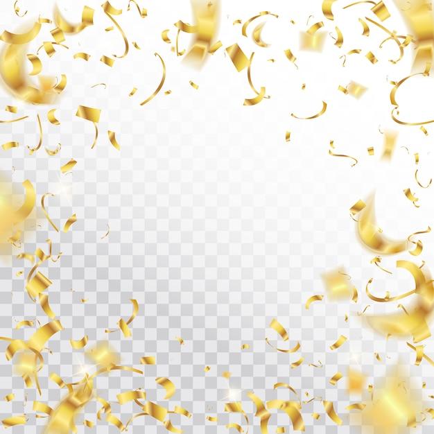 Confetti brillant chute fond de paillettes d'or. Vecteur Premium