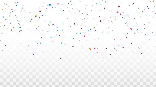 Confettis cadre de rubans colorés. carte de voeux riche de luxe. Vecteur Premium