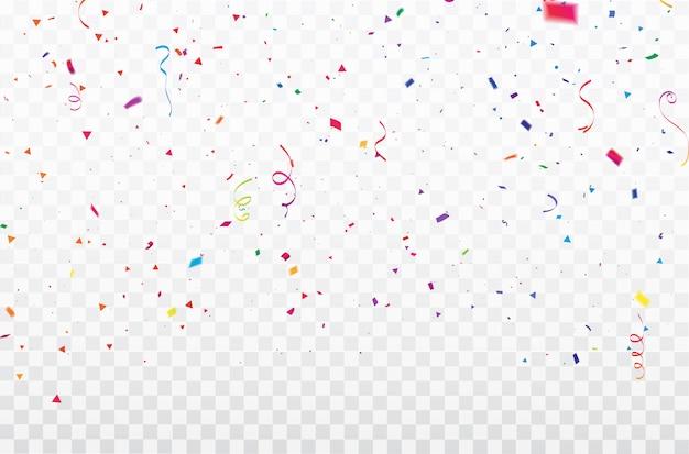 Confettis de célébration cadre de rubans colorés. Vecteur Premium