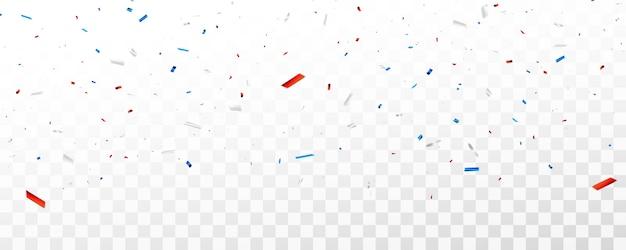 Confettis de célébration et rubans rouges et bleus. Vecteur Premium