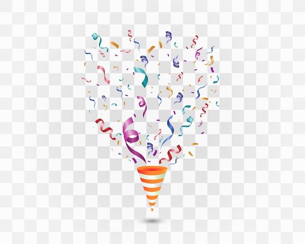 Confettis Colorés Sur Fond Blanc. Fond Joyeux Festif. Cône Avec Des Confettis. Vecteur Premium