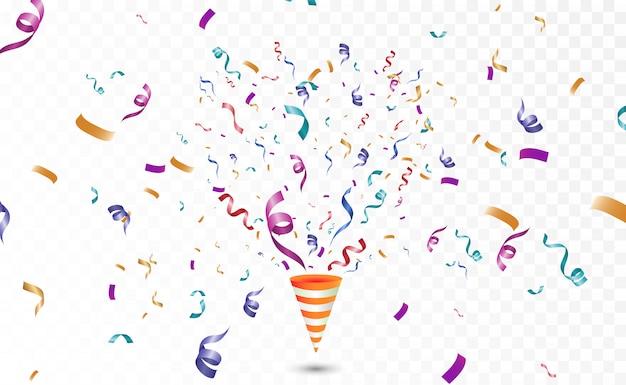Confettis Colorés Sur Fond Blanc. Fond De Vecteur Joyeux Festif. Cône Avec Des Confettis. Vecteur Premium