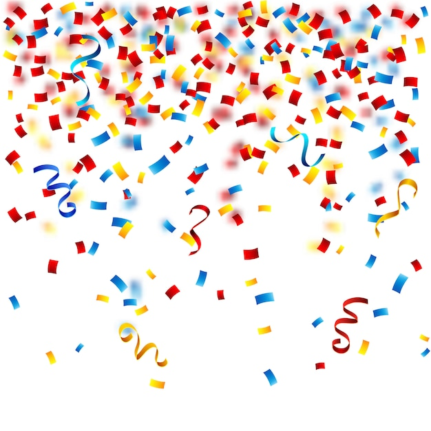 Confettis colorés sur fond blanc Vecteur gratuit
