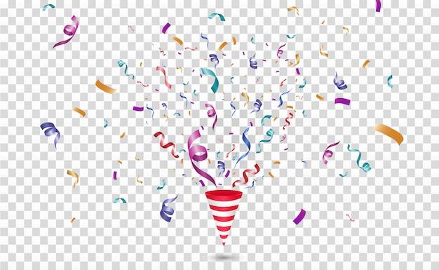 Confettis Colorés. Joyeux Festif. Cône Avec Des Confettis. Vecteur Premium
