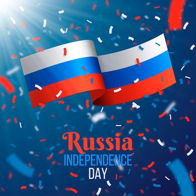 Confettis Et Drapeau De La Russie Réaliste Vecteur gratuit