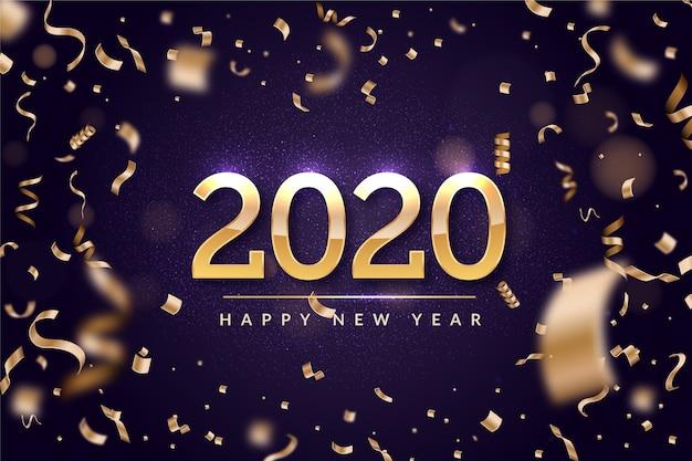 Confettis de fond du nouvel an Vecteur gratuit