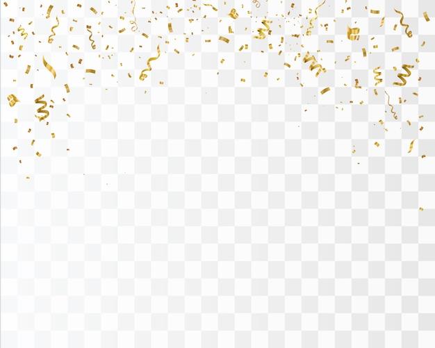 Confettis Or Isolés. Célébrer L'illustration Vectorielle Vecteur Premium