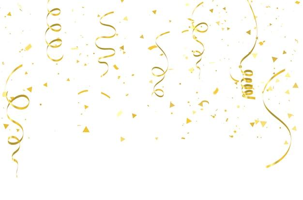 Confettis d'or rubans de carnaval de célébration. Vecteur Premium