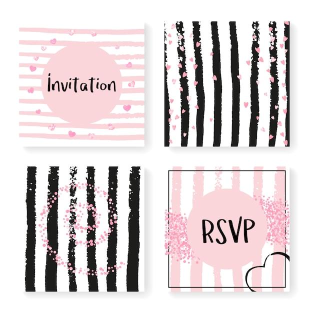 Confettis de paillettes de mariage sur des rayures, modèle d'invitation Vecteur Premium