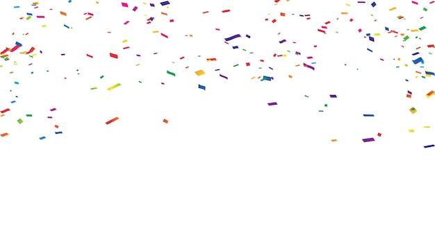 Confettis rubans colorés cadre carte de voeux riche riche. Vecteur Premium
