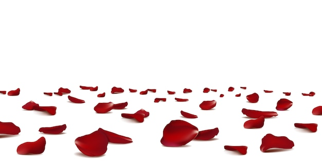 Confettis Saisonniers De Pétales De Rose Rouges Tombant, éléments De Fleurs Volant Isolés. Floral Abstrait Avec Pétales De Roses De Beauté. Vecteur Premium