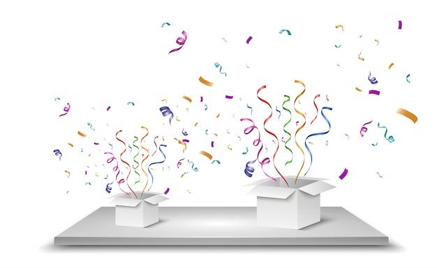 Les Confettis Sortent De La Boîte. Surprise. Illustration Vecteur Premium