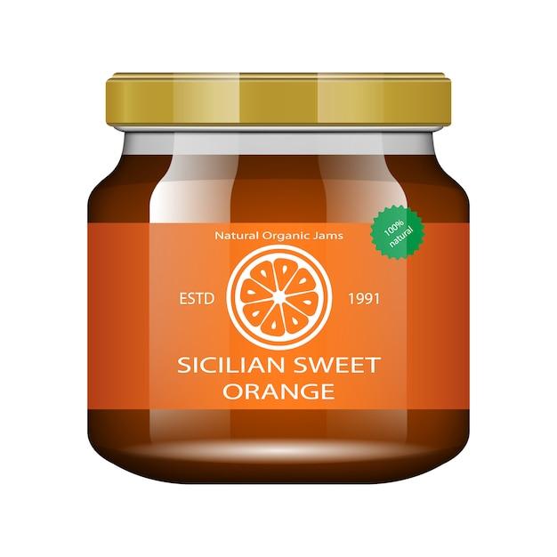 Confiture Orange. Pot En Verre Avec Confiture Et Configurer. Collection D'emballage. étiquette De Confiture. Banque Réaliste. Vecteur Premium