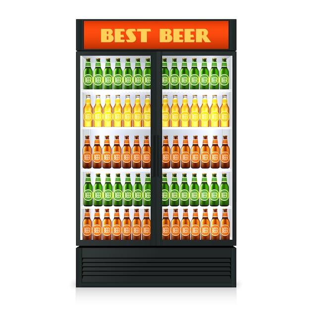 Congélateur vertical réaliste avec porte fermée transparente et boissons alcoolisées Vecteur gratuit