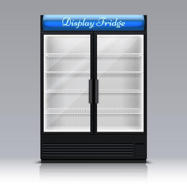 Congélateur vide pour boissons avec porte vitrée. illustration vectorielle 3d de supermarché alimentaire réfrigérateur. congélateur et réfrigérateur pour boissons boissons supermarché Vecteur Premium