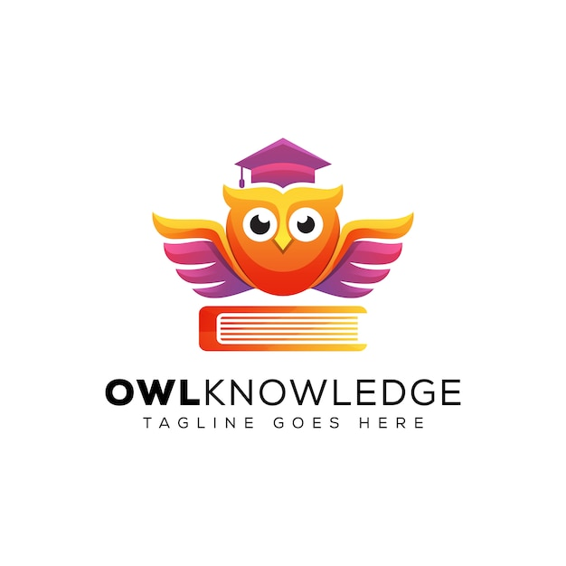 Connaissances Impressionnantes De Hibou Avec Le Logo De L'éducation Du Livre, Le Logo De L'éducation Scolaire, Le Modèle De Logo Diplômé Oiseau Animal Vecteur Premium