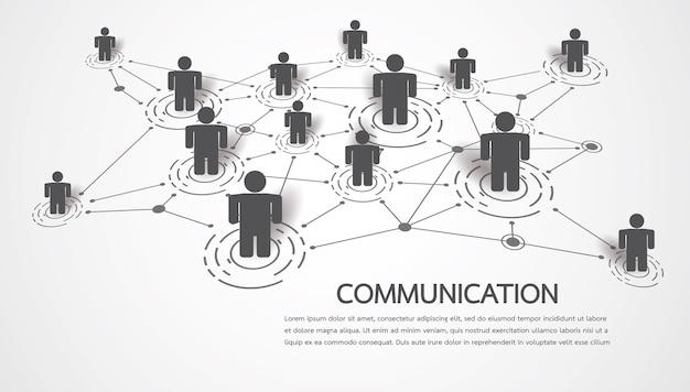 Connecter Des Personnes Avec Des Points Et Des Lignes Vecteur Premium