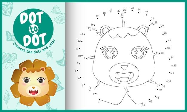 Connectez Le Jeu Et La Page De Coloriage Pour Enfants Dots Avec Un Lion Mignon Vecteur Premium