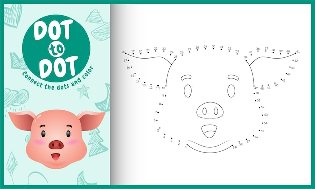Connectez Le Jeu Et La Page De Coloriage Pour Enfants Dots Avec Un Personnage De Cochon Mignon Vecteur Premium