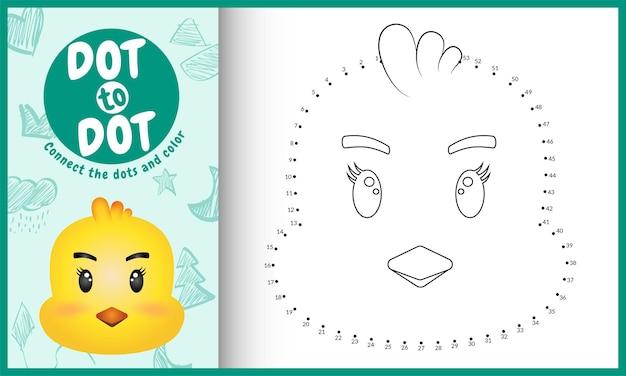 Connectez Le Jeu Et La Page De Coloriage Pour Enfants Dots Avec Un Poussin Mignon Vecteur Premium