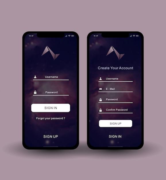 Connectez-vous Inscrivez-vous Aplikasi Vecteur Premium
