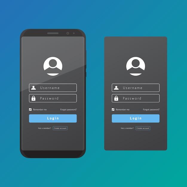 Connectez-vous à l'interface utilisateur et à l'expérience utilisateur avec un modèle de conception de vecteur de téléphone intelligent. Vecteur Premium
