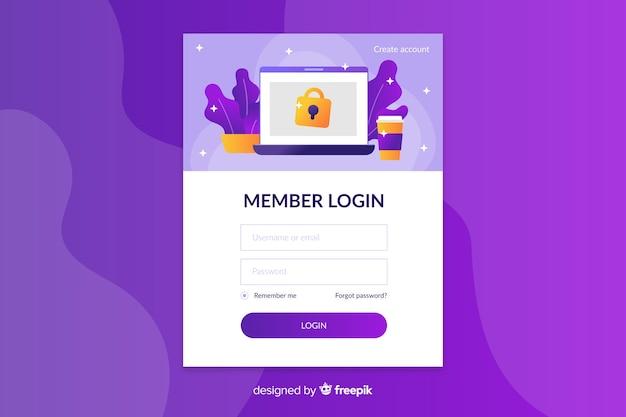 Connectez-vous à la page d'arrivée avec des icônes Vecteur gratuit