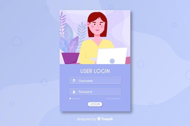 Connectez-vous à La Page D'arrivée Avec Nom D'utilisateur Vecteur gratuit
