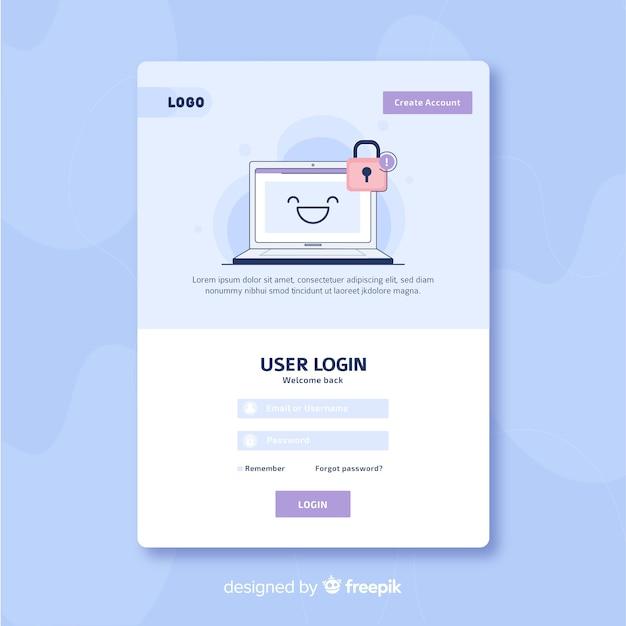 Connexion Au Modèle De Page De Destination Vecteur gratuit