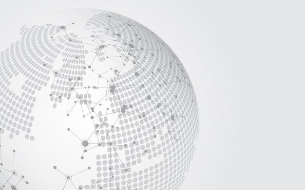 Connexion au réseau mondial carte de fond abstrait technologie Vecteur Premium