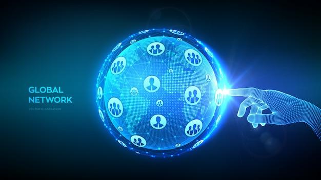 Connexion Au Réseau Mondial. Concept D'entreprise Mondiale. Main Touchant La Composition Du Point Et De La Ligne De La Carte Du Monde Globe Terrestre. Vecteur Premium