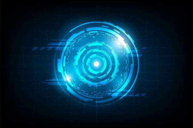 Connexion de cercle abstrait futuriste avec lumière flare sur fond de grille Vecteur Premium