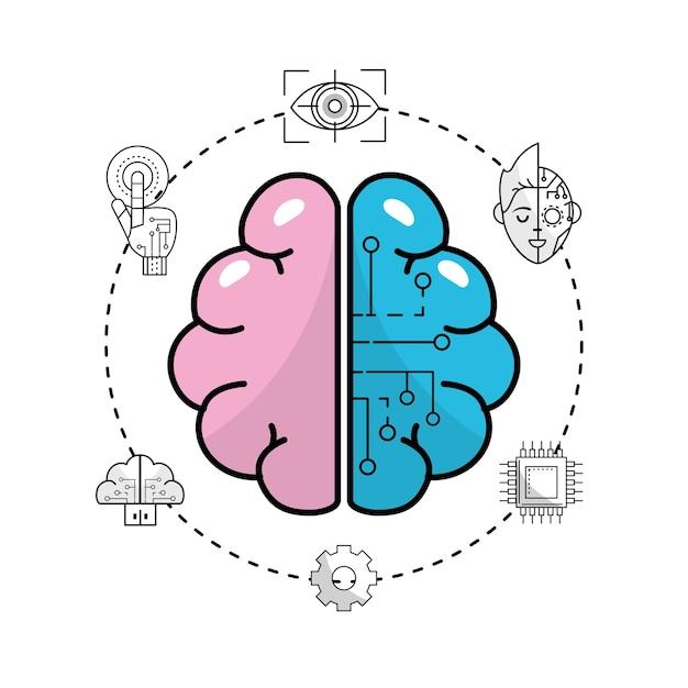 Connexion future du cerveau technologique aux données d'interface Vecteur Premium