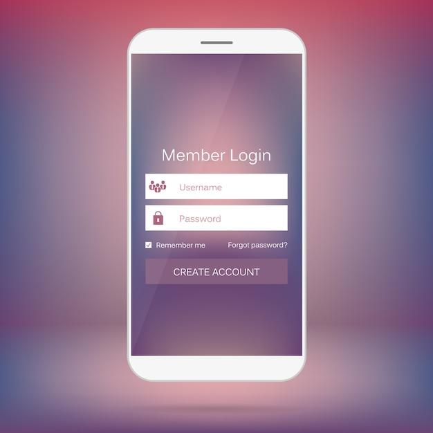 Connexion membre via l'interface web mobile. Vecteur Premium