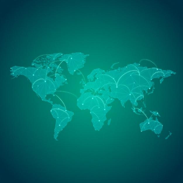 Connexion mondiale fond vert illustration vecteur Vecteur gratuit