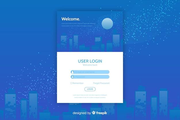 Connexion à la page de destination avec zone de connexion Vecteur gratuit