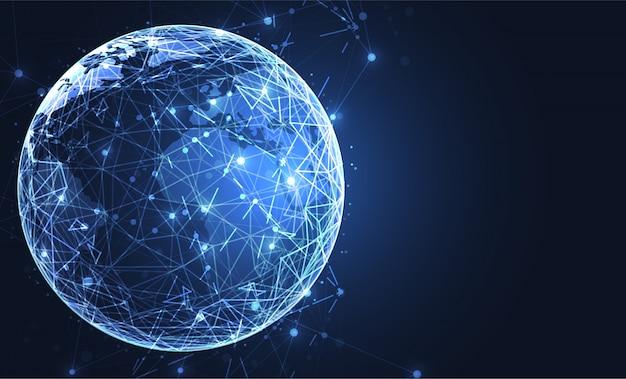 Connexion réseau globale. fond de carte du monde Vecteur Premium