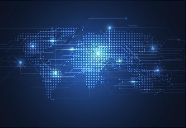 Connexion réseau globale. point de carte du monde Vecteur Premium