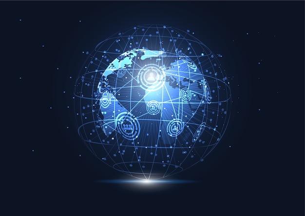 Connexion réseau globale. Vecteur Premium