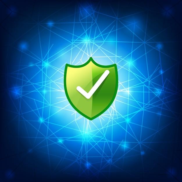 Connexion réseau sécurisé safty bouclier sur fond bleu Vecteur Premium