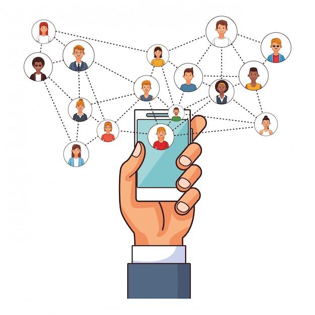 Connexion des utilisateurs de technologie smartphone Vecteur Premium