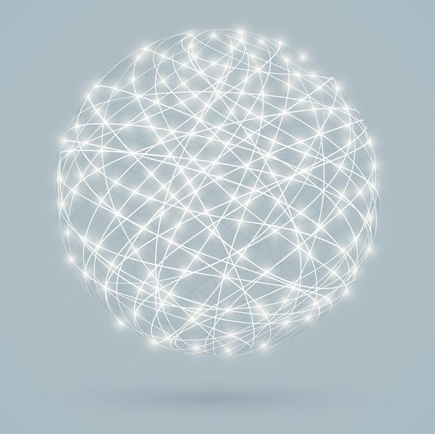 Connexions numériques globales avec lumières rougeoyantes, réseau Vecteur Premium