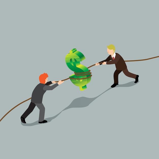 Conquête de l'homme d'affaires sur le concept isométrique de finances Vecteur Premium