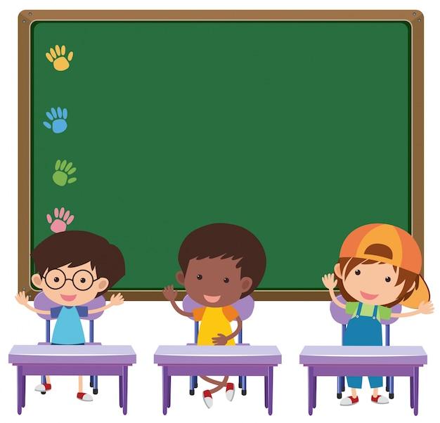 Conseil Et Enfants Dans La Salle De Classe Vecteur Premium
