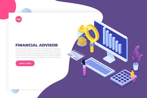 Conseiller Financier Ou Concept Isométrique D'administration Avec Des Personnages. Images De Héros. Vecteur Premium