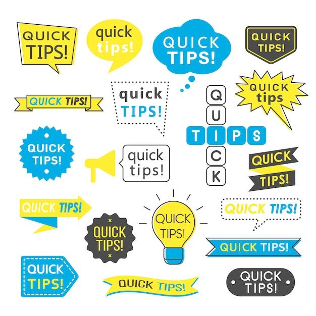 Conseils, Astuces, Astuces Utiles Et Suggestions De Logos, Emblèmes Et Bannières Isolés. Vecteur Premium