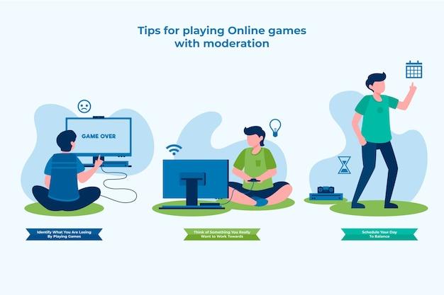 Conseils Pour Jouer à Des Jeux En Ligne Avec Modération Vecteur gratuit
